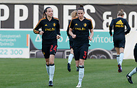 20180228 - LARNACA , CYPRUS :  Belgian Silke Vanwynsberghe (left) and Heleen Jaques (r) pictured during a women's soccer game between Spain and the Belgian Red Flames , on friday 2 March 2018 at the AEK Arena in Larnaca , Cyprus . This is the second  game in group B for  Belgium during the Cyprus Womens Cup , a prestigious women soccer tournament as a preparation on the World Cup 2019 qualification duels. PHOTO SPORTPIX.BE | DAVID CATRY
