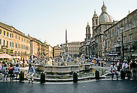 Italy: Rome--Piazza Navona, built on site of Domitian's Stadium and retaining its shape. Obelisk atop Bernini's work visible in background. Photo '82.