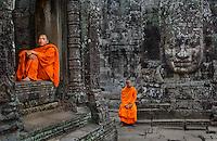 Angkor, Cambodia 2006. Monks at Bayon, Angkor Wat.