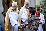 A tortoise is blessed by Padre Angel at San Anton church in Madrid marking San Anton Abad's Day (Saint Anthony), on January 17, 2016. Pet animals, many dressed in their finest, trooped into churches across Spain in search of blessing on the patron saint of animals Saint Anthony's Day.  (ALTERPHOTOS/Rodrigo Jimenez)