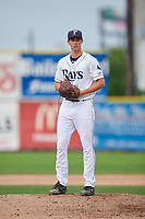 Princeton Rays relief pitcher Justin Montgomery (19) gets ready to deliver a pitch during the second game of a doubleheader against the Greeneville Reds on July 25, 2018 at Hunnicutt Field in Princeton, West Virginia.  Greeneville defeated Princeton 8-7.  (Mike Janes/Four Seam Images)