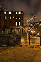 AVAILABLE FROM JEFF AS A FINE ART PRINT.<br /> <br /> AVAILABLE FROM PLAINPICTURE FOR COMMERCIAL AND EDITORIAL LICENSING.  Please go to www.plainpicture.com and search for image # p5690010.<br /> <br /> Brownstone in Brooklyn Heights Illuminated on an Overcast NIght, Brooklyn, New York City, New York State, USA