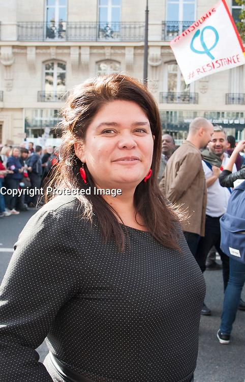 September 23 2017, Paris, France - Demonstration against the Reform of Labour Law led by the French politician Jean-Luc Melenchon Leader of 'La France Insoumise'. Raquel Garrido, the spokeswoman of Melenchon was present. # MANIFESTATION CONTRE LA LOI TRAVAIL EN FRANCE