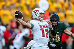 Southern Methodist Mustangs quarterback Neal Burcham (12) in action during the game between the Southern Methodist Mustangs and the Baylor Bears at the McLane Stadium in Waco, Texas. Baylor leads SMU 31 to 0 at halftime.