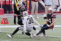 27th September 2020, Foxborough, New England, USA;  New England Patriots running back Rex Burkhead (34) cuts back on Las Vegas Raiders safety Jeff Heath (38) during the game between the New England Patriots and the Las Vegas Raiders