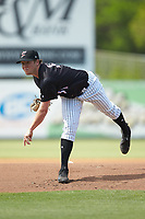 Kannapolis Intimidators starting pitcher Parker Rigler (31) follows through on his delivery against the Hagerstown Suns at Kannapolis Intimidators Stadium on May 6, 2018 in Kannapolis, North Carolina. The Intimidators defeated the Suns 4-3. (Brian Westerholt/Four Seam Images)