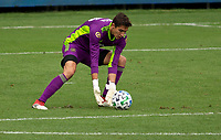 LOS ANGELES, CA - OCTOBER 25: Pablo Sisniega #23 goalkeeper of LAFC with a save during a game between Los Angeles Galaxy and Los Angeles FC at Banc of California Stadium on October 25, 2020 in Los Angeles, California.