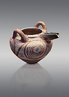 Cycladic deep bridge spouted jar with spiral decorations.   Cycladic (1650-1450 BC) , Phylakopi III, Melos. National Archaeological Museum Athens.  Cat no 5788.  Grey background.<br /> <br /> <br /> Ceramic shapes and painted style are heavily influenced by Minoan styles during this period. Dark floral and spiral patterns are painted over a lighted backgound with wavy bands.