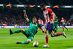 Diego Costa (R) of Atletico de Madrid fights for the ball with Solomon Kvirkvelia of FC Lokomotiv Moscow during the UEFA Europa League 2017-18 Round of 16 (1st leg) match between Atletico de Madrid and FC Lokomotiv Moscow at Wanda Metropolitano  on March 08 2018 in Madrid, Spain. Photo by Diego Souto / Power Sport Images