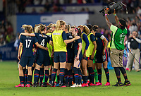 ORLANDO, FL - MARCH 05: The USWNT huddles during a game between England and USWNT at Exploria Stadium on March 05, 2020 in Orlando, Florida.