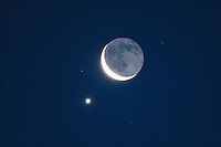 Moon and Venus, Texas, USA