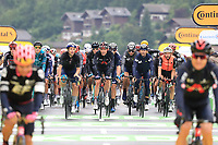 3rd July 2021; Oyonnax, Auvergne-Rhône-Alpes, France; TOUR DE FRANCE 2021 UCI Cycling World Tour Stage 8  from Oyonnax to Le Grand Bornand;  <br /> The peloton crosses the finish line.