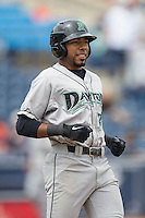 Dayton Dragons outfielder Narciso Crook (36) in action against the West Michigan Whitecaps on April 24, 2016 at Fifth Third Ballpark in Comstock, Michigan. Dayton defeated West Michigan 4-3. (Andrew Woolley/Four Seam Images)