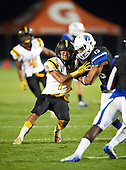 IMG Academy Ascenders Isaiah Pryor (13) blocks Tyreece Jones (14) during a game against the St. Frances Academy Panthers on November 12, 2016 at IMG Academy in Bradenton, Florida.  IMG defeated St. Frances 38-0.  (Mike Janes Photography)
