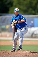 Toronto Blue Jays relief pitcher Matt Shannon (43) delivers a pitch during a Florida Instructional League game against the Pittsburgh Pirates on September 20, 2018 at the Englebert Complex in Dunedin, Florida.  (Mike Janes/Four Seam Images)