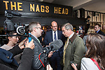 © Joel Goodman - 07973 332324 . 20/11/2014 . Kent , UK . ) . UKIP Party leader , Nigel Farage and candidate Mark Reckless , at The Nags Head pub in Lower Stoke . The Rochester and Strood by-election campaign following the defection of sitting MP Mark Reckless from Conservative to UKIP . Photo credit : Joel Goodman