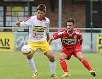 FC Gullegem - KV Kortrijk : Karim Stockx aan de bal voor Baptiste Ulens (r)<br /> foto VDB / BART VANDENBROUCKE