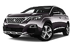 Stock pictures of low aggressive front three quarter view of 2017 Peugeot 3008 GT-Line 5 Door Suv Low Aggressive