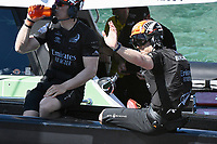 13th March 2021; Waitemata Harbour, Auckland, New Zealand;  Peter Burling waves as Emirates Team New Zealand heads out for racing. Day 3 of the America's Cup presented by Prada. Auckland, New Zealand, Saturday the 13th of March 2021.
