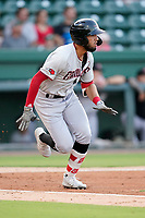 Center fielder Jonathan Ornelas (3) of the Hickory Crawdads in a game against the Greenville Drive on Tuesday, August 24, 2021, at Fluor Field at the West End in Greenville, South Carolina. (Tom Priddy/Four Seam Images)