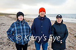 Enjoying a stroll on Derrymore beach on Saturday, L to r: Sheila Lynch, Tadgh Ó Loíngsigh and Jane Ryan