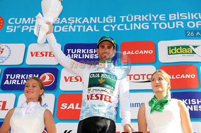 Luis Mas Bonet (ESP) Caja Rural SGA Seguros holds onto the Turkish Beauties Jersey at the end of Stage 4 of the 2015 Presidential Tour of Turkey running 132km from Fethiye to Marmaris. 29th April 2015.<br /> Photo: Tour of Turkey/Mario Stiehl/www.newsfile.ie