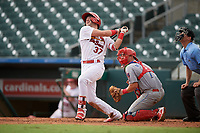 Palm Beach Cardinals Zack Gahagan (37) bats during a Florida State League game against the Clearwater Threshers on August 11, 2019 at Roger Dean Chevrolet Stadium in Jupiter, Florida.  Palm Beach defeated Clearwater 4-1.  (Mike Janes/Four Seam Images)