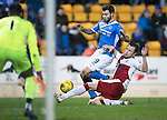 St Johnstone v Rangers…28.12.16     McDiarmid Park    SPFL<br />Richie Foster is tackled by Danny Wilson<br />Picture by Graeme Hart.<br />Copyright Perthshire Picture Agency<br />Tel: 01738 623350  Mobile: 07990 594431