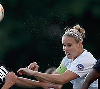 Boston Breakers midfielder Leslie Osborne (12) heads the ball. In a Women's Premier Soccer League Elite (WPSL) match, the Boston Breakers defeated New York Fury, 2-0, at Dilboy Stadium on June 23, 2012.