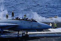 "- Kennedy aircraft carrier, launch of a F 14 ""Tomcat"" fighter aircraft ....- portaerei Kennedy, lancio di un aereo da caccia F 14 ""Tomcat""...."