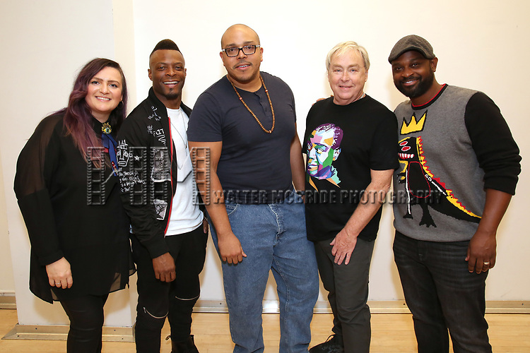 """Annastacia Victory, Rickey Tripp, , Aurin Squire,  Christopher Renshaw, Michael O. Michell  During the Open Rehearsal for the Miami New Drama's World Premiere Musical  """"A Wonderful World"""" at the Ripley-Grier Studios on January 26, 2020 in New York City."""