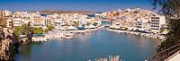 Agios Nikolaos panoramic photo with iconic view of the port