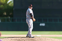 Scottsdale Scorpions relief pitcher Ty Boyles (43), of the Cincinnati Reds organization, gets ready to deliver a pitch during an Arizona Fall League game against the Glendale Desert Dogs at Camelback Ranch on October 16, 2018 in Glendale, Arizona. Scottsdale defeated Glendale 6-1. (Zachary Lucy/Four Seam Images)