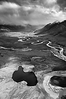 The Noatak River flows north west out of the Brooks Range, in the Gates of the Arctic National Park, Alaska.