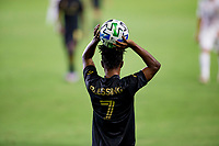 CARSON, CA - SEPTEMBER 06: Latif Blessing #7 of LAFC with a throw in during a game between Los Angeles FC and Los Angeles Galaxy at Dignity Health Sports Park on September 06, 2020 in Carson, California.