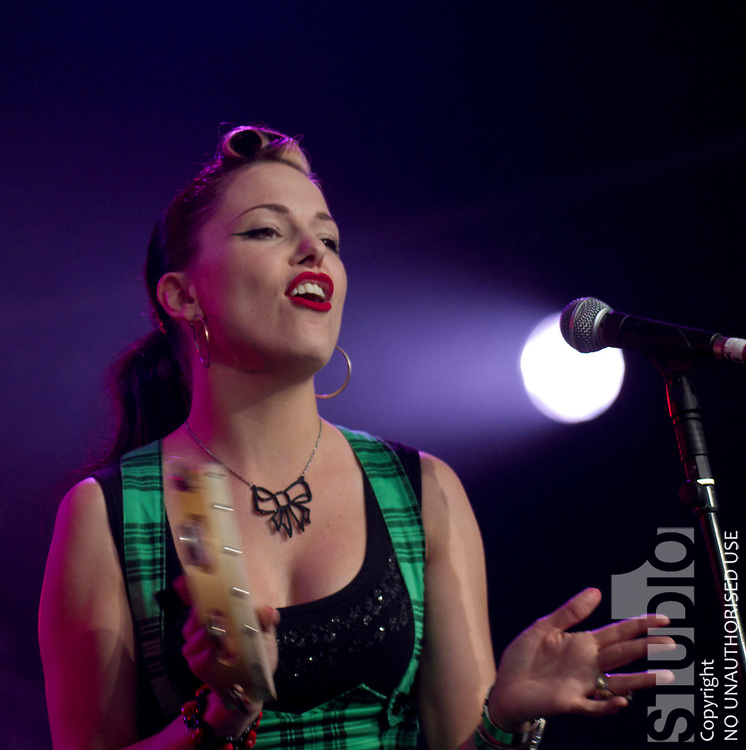 Imelda May on stage at the Cambridge Folk Festival at Cherry Hinton Hall