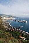 Spain, Canary Islands, La Palma, Santa Cruz de La Palma: capital - two cruise ships at harbour