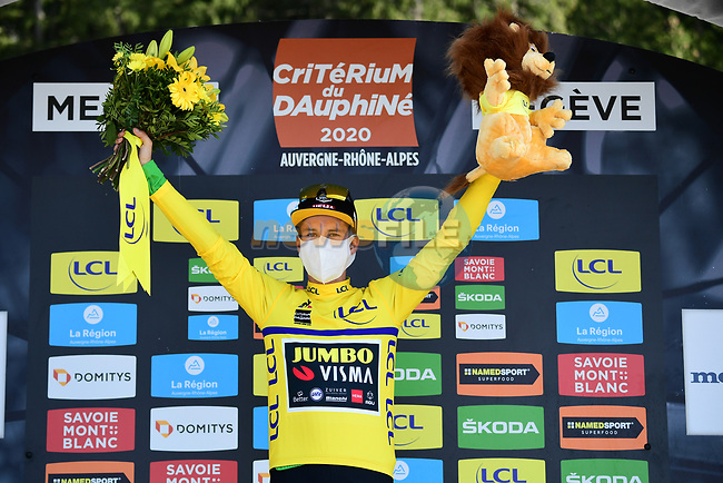 Race leader Primoz Roglic (SLO) Team Jumbo-Visma retains the Yellow Jersey at the end of Stage 4 of Criterium du Dauphine 2020, running 157km from Ugine to Megeve, France. 15th August 2020.<br /> Picture: ASO/Alex Broadway | Cyclefile<br /> All photos usage must carry mandatory copyright credit (© Cyclefile | ASO/Alex Broadway)