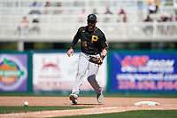 Pittsburgh Pirates first baseman Will Craig (35) fields a ground ball during a Major League Spring Training game against the Minnesota Twins on March 16, 2021 at Hammond Stadium in Fort Myers, Florida.  (Mike Janes/Four Seam Images)