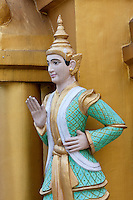 Myanmar, Burma.  Shwedagon Pagoda, Yangon, Rangoon.  A Nat, one of many Buddhist Spirits worshipped in Myanmar.