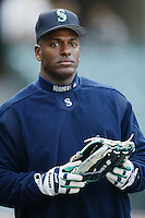 Ruben Sierra of the Seattle Mariners before a 2002 MLB season game against the Los Angeles Angels at Angel Stadium, in Los Angeles, California. (Larry Goren/Four Seam Images)