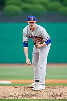 Midland RockHounds starting pitcher Brett Graves (18) looks in for the sign during a game against the Northwest Arkansas Naturals on May 27, 2017 at Arvest Ballpark in Springdale, Arkansas.  NW Arkansas defeated Midland 3-2.  (Mike Janes/Four Seam Images)
