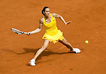 May 27, 2010.Jelena Jankovic of Serbia, returns a shot by Estonia's Kaia Kanepi during their second round matchin in the French Open, played at Stade Roland Garros, Paris France