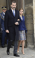 PARIS, FRANCE - MARCH 24: King Felipe of Spain and Queen Letizia of Spain listen to French president Francois Hollande as he addresses media after their meeting at the Elysee presidential palace, on March 24, 2015 in Paris, France. The King and Queen of Spain have decided to cut short their scheduled state visit to France after a Germanwings Airbus A320 plane crashed in the French Alps, as it travelled from Barcelona to Duesseldorf.<br /> <br /> People: King Felipe of Spain, Queen Letizia
