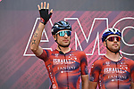 Davide Cimolai (ITA) Israel Start-Up Nation at sign on before the start of Stage 18 of the 2021 Giro d'Italia, running 231km from Rovereto to Stradella, Italy. 27th May 2021.  <br /> Picture: LaPresse/Gian Mattia D'Alberto   Cyclefile<br /> <br /> All photos usage must carry mandatory copyright credit (© Cyclefile   LaPresse/Gian Mattia D'Alberto)