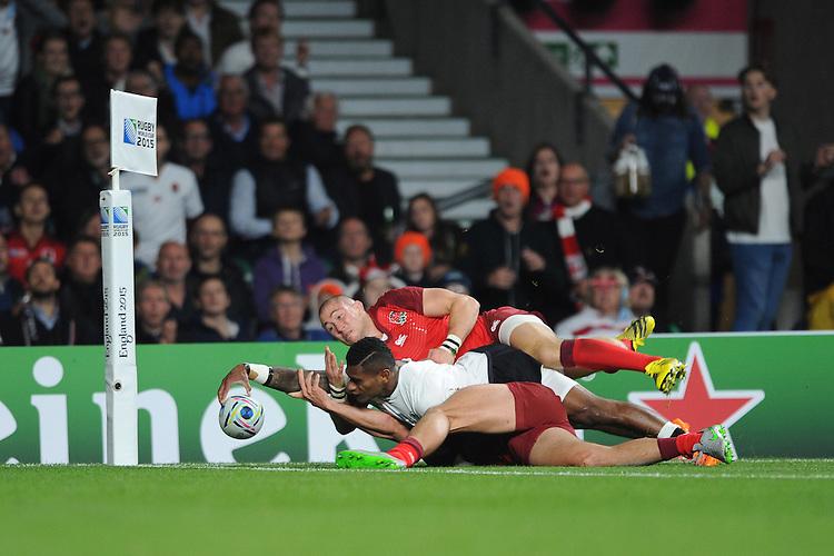 Nikola Matawalu of Fiji has his try disallowed during Match 1 of the Rugby World Cup 2015 between England and Fiji - 18/09/2015 - Twickenham Stadium, London <br /> Mandatory Credit: Rob Munro/Stewart Communications