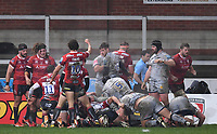 2nd January 2021; Kingsholm Stadium, Gloucester, Gloucestershire, England; English Premiership Rugby, Gloucester versus Sale Sharks; Lloyd Evans  of Gloucester celebrates as Gloucester score a try from a rolling maul