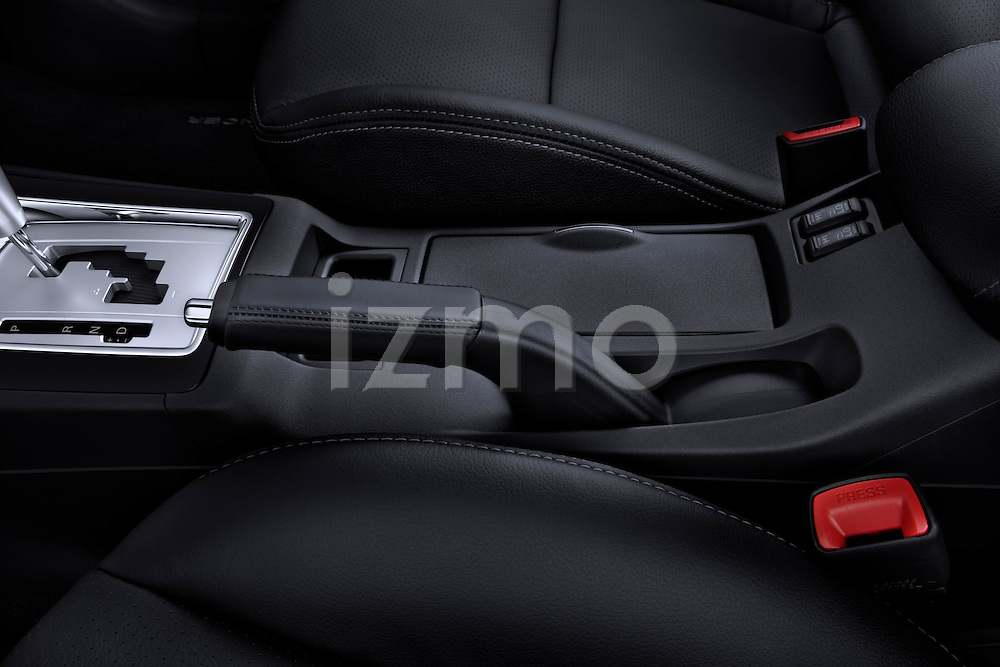 Parking brake detail on a 2012 Mitsubishi Lancer Sportback GT
