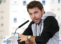 Stan Wawrinka of Switzerland speaks to the press at Media Day before the start of the ATP World Tour Finals, The O2, London, 2015