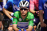 Green Jersey João Almeida (POR) Deceuninck-Quick Step on the line for the start of Stage 3 of the 2021 UAE Tour running 166km from Al Ain to Jebel Hafeet, Abu Dhabi, UAE. 23rd February 2021.  <br /> Picture: Eoin Clarke | Cyclefile<br /> <br /> All photos usage must carry mandatory copyright credit (© Cyclefile | Eoin Clarke)